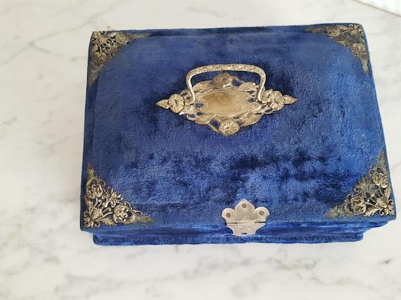 Napoleon III blue velvet sewing box jewelry box -… - image 4