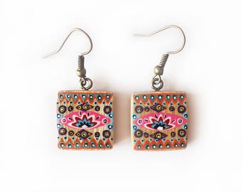Earrings square bamboo handpainted pink and orange
