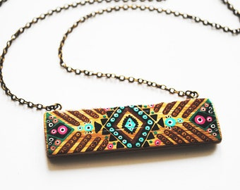 Long rectangle bamboo handpainted green and Brown tribal