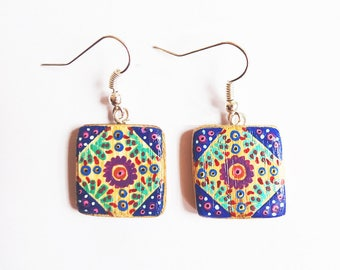 Earrings square bamboo handpainted blue and turquoise
