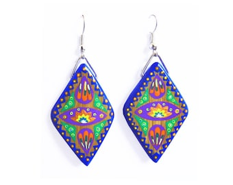 Bamboo diamond earrings blue and multicolored hand painted
