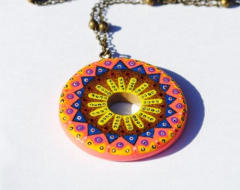 Necklace round bamboo handpainted yellow, blue and pink mandala