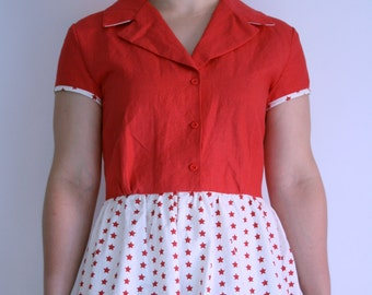 Dress 50's, 50's Dress, Dress stars, Red and white dress,
