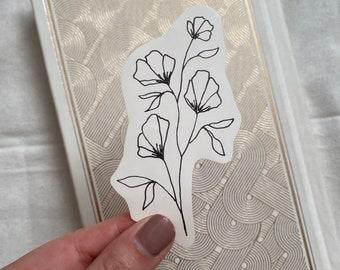 Dainty Flower Sticker,  Minimalist Black & White Floral Sticker,  Simple Flower Sticker for Bottles, Laptops, Journals, Bibles, and more