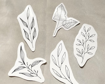 Leaves Sticker Set 2, Black & White Stickers for Bullet Journaling, Bibles, Planners, Water Bottles, and more
