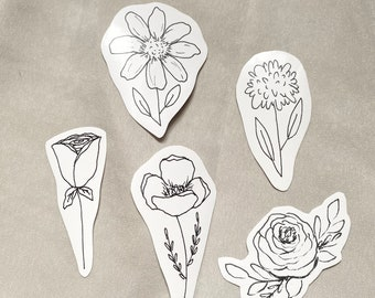 Floral Sticker Set, Black & White Stickers for Bullet Journaling, Bibles, Planners, Water Bottles, and more