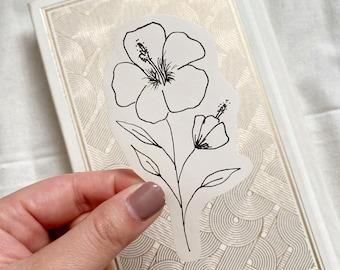 Hibiscus Flower Sticker, Minimalist Black & White Floral Sticker, Simple Flower Sticker for Bottles, Laptops, Journals, Bibles, and more