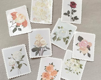 Rose Collection, Floral Stamp Stickers for Bullet Journaling, Planners, Cards, and more