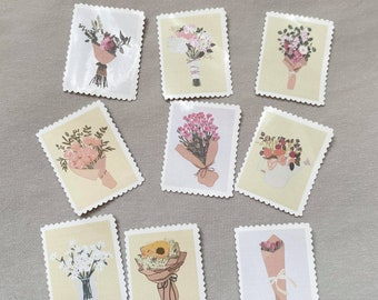 Bouquet Collection, Floral Stamp Stickers for Bullet Journaling, Planners, Cards, and more