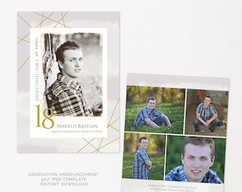 Graduation Announcement - Photoshop Template for photographers and photoshop users - Graduation Card - INSTANT DOWNLOAD