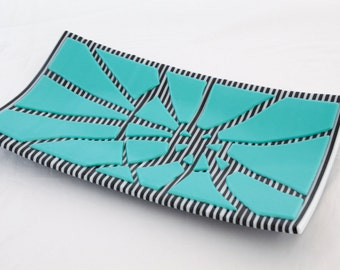 Fused Glass Sushi Dish - Broken Turquoise on B&W Striptes