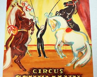 Original Vintage Circus Schumann 4 Horses Poster