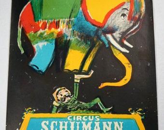 Original Vintage Circus Schumann Elephant Poster