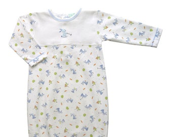 Baby boy's Pima cotton gown, Baby boy Daygown New Born Hospital outfit, Gift take me home, New born baby gown