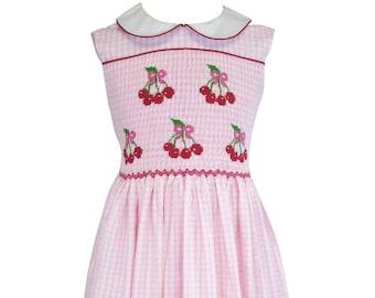 Pink Seersucker Cherries smocked dress,