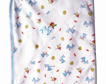 Easter bunnies receiving blanket. Bunnies baby blanket Pima cotton.  Baby Boy Pima cotton blanket