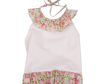Seersucker Girls bathing suit, trimmed with Liberty of London fabric.