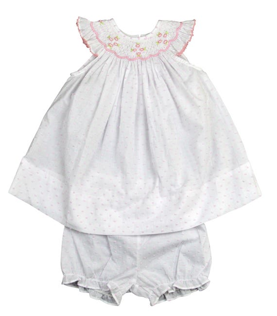 ca2819ac6ae Marco   Lizzy hand smocked pink plumetti bishop size 18 with