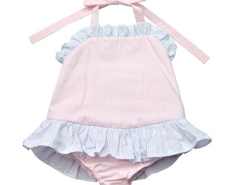Pink and blue seersucker girls bathing suit. Pool bathing suit for a little girl