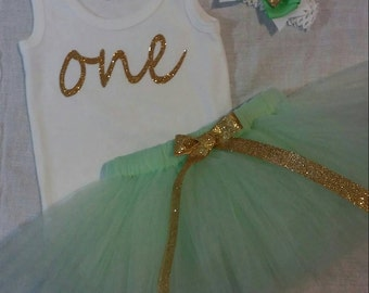 Mint and gold birthday outfit