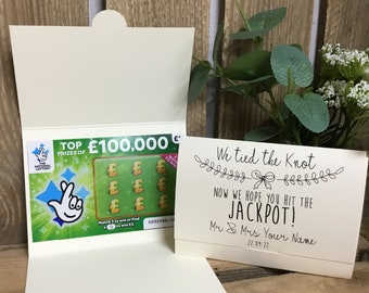 Scratch Card Holder. Wedding Favour Idea. Lottery Ticket Wallet. Personalised Favor. We tied the Knot