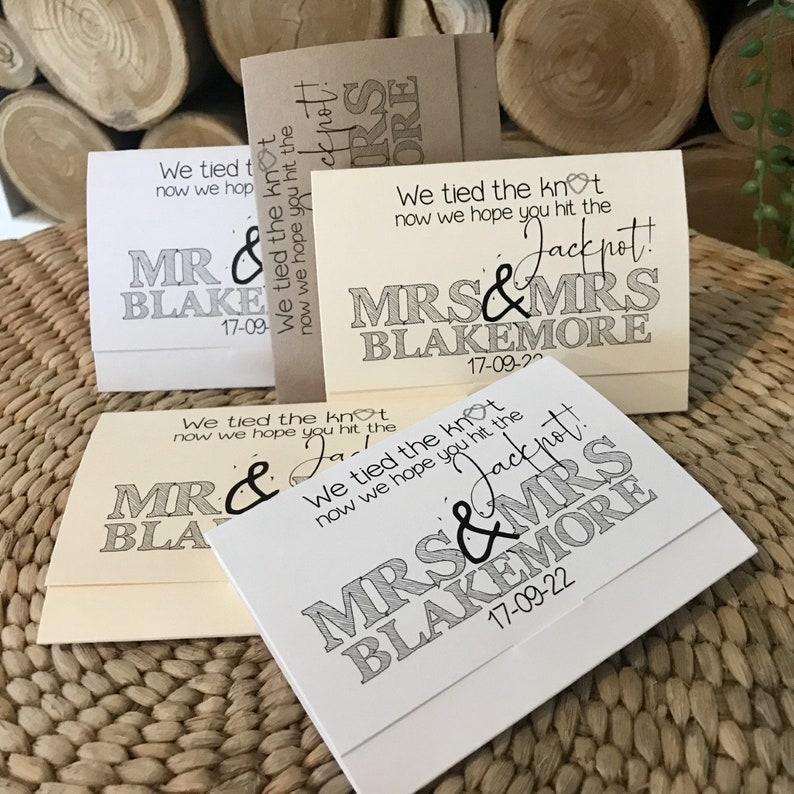 scratch card holder wedding favour idea lottery ticket
