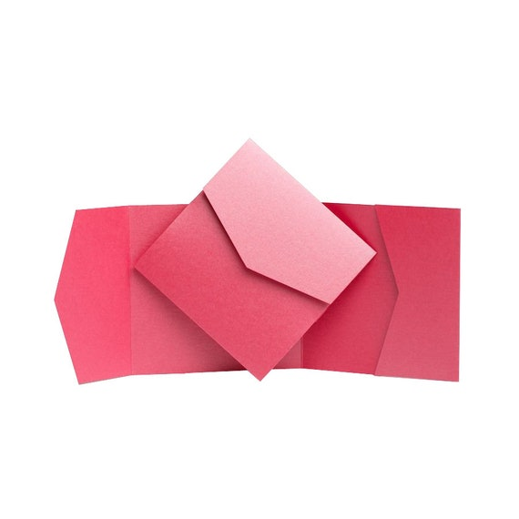 1 Hot Pink Pearlescent Pocketfold Invites 130mmx185mm