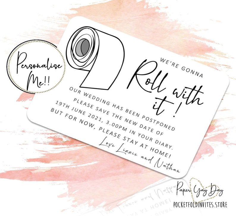 10 x Postponed Wedding Cards. Save the Date Cards. Engagement image 0