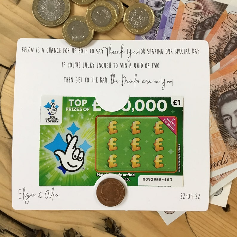 Scratch Card Holder  Lottery Ticket Wallet  Wedding Favour  Personalised  Favour  Wedding Gift
