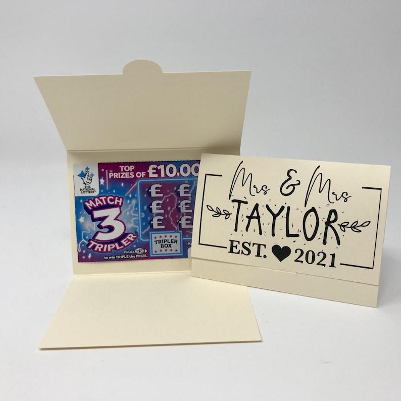 custom wedding favor idea lottery ticket wallet scratch