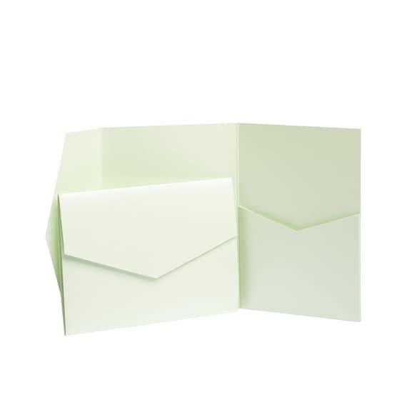 Emerald Green Pearlescent Pocket fold Wallets with Envelopes DIY Wedding Cards