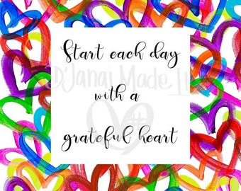start each day with a grateful heart gender neutral hello hearts morning motivation good morning nursery decor pink wall decor home gift