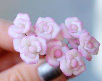 10 pink miniature flowers, jewelry supply, polymer clay flower beads, dollhouse flowers, polymer clay miniature flower, white pink flowers