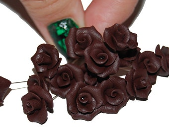 Chocolate Rose, 1 FLOWER,  jewelry supply, Polymer clay roses, Polymer clay miniature flower, Rose flower, Miniature roses, jewellery making