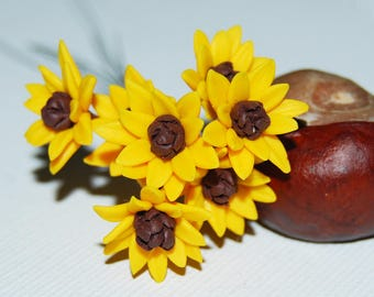 Sunflower miniature, jewelry supply, Polymer clay sunflower, polymer clay flower beads, Polymer clay miniature flower, Sunflower flower