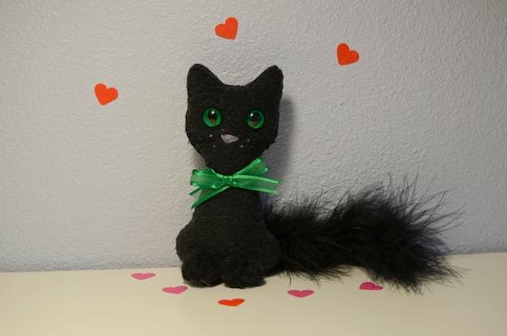 Black Cat Ornament Green Eyes Fleece Ornament Mini Kitty Etsy
