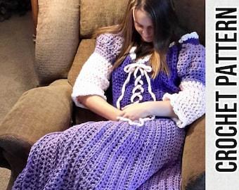 Princess Dress Blanket, purple, crochet pattern, Digital Download, PDF only, toddler, child, and adult sizes