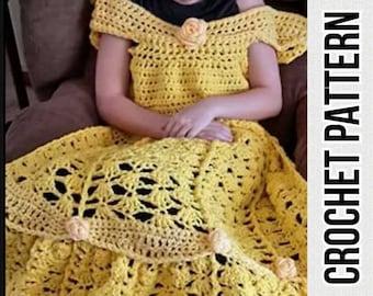 Princess Dress Blanket, Yellow, crochet pattern, Digital Download, PDF only, toddler child adult sizes