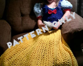 Princess Dress Blanket, Fairest Princess, Crochet pattern, Digital Download, PDF only, toddler, child, adult sizes