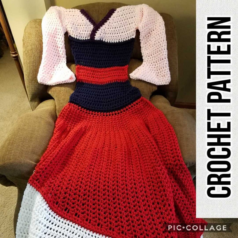 Asain Princess Dress Blanket Crochet Pattern PDF Instant image 0
