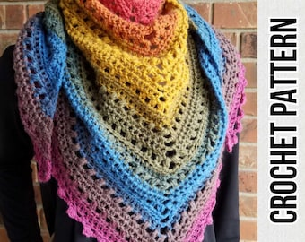 Skipping Stones Shawl Triangle Scarf Crochet Pattern PDF instant Download