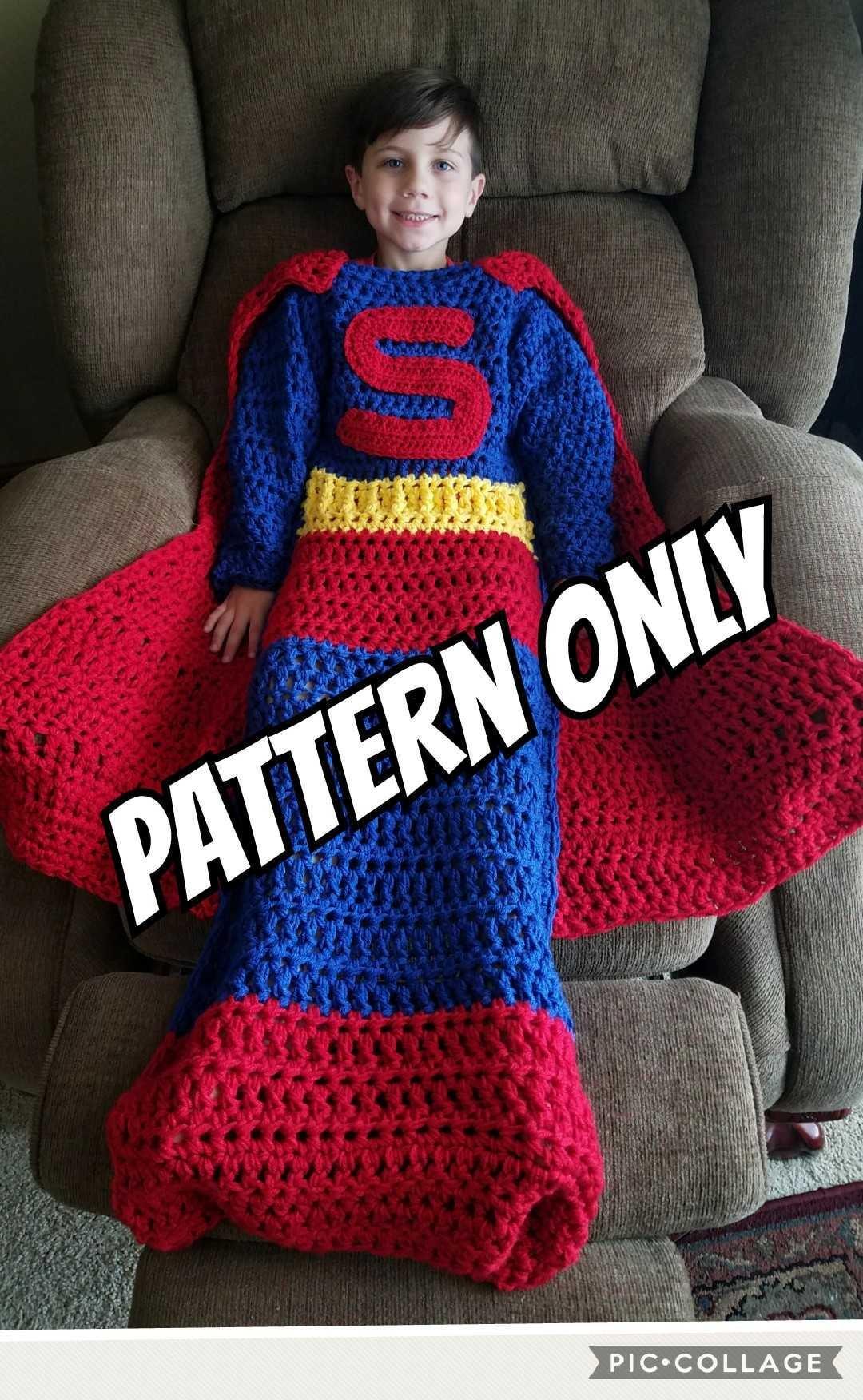 super hero wearable blanket crochet pattern pdf digital etsy. Black Bedroom Furniture Sets. Home Design Ideas