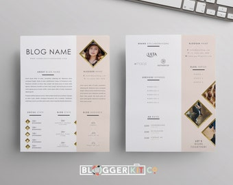 two page media kit template press kit template electronic etsy