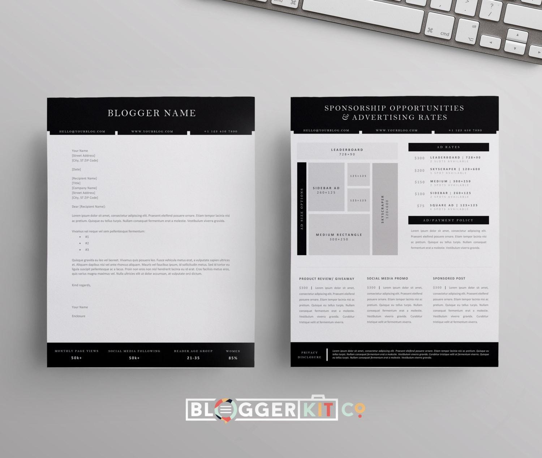 Blog-Sponsoring-Vorschlag-Brief-Vorlage Ad bewerten Blatt | Etsy