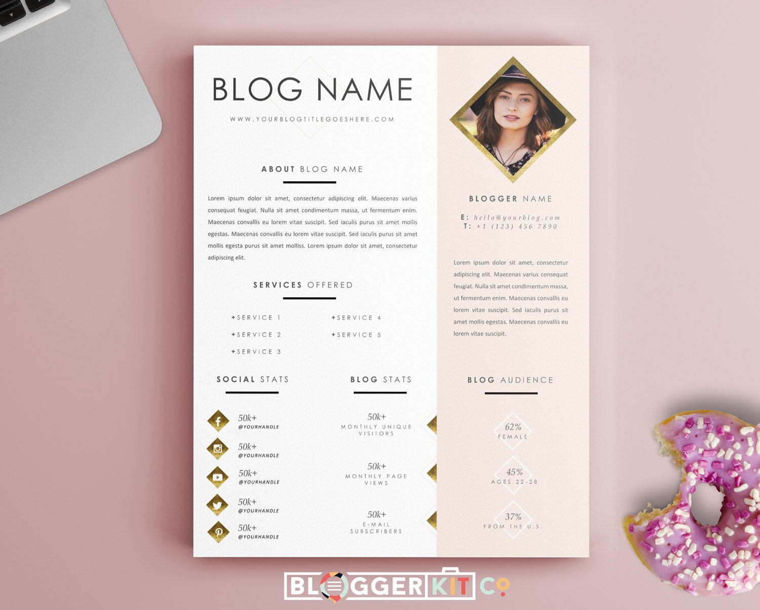 One Page Media Kit Template Press Kit Template Electronic Etsy