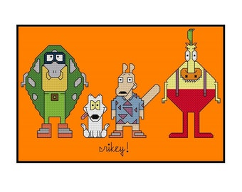 Rockos Modern Life Parody Cross Stitch Pattern PDF Instant Download