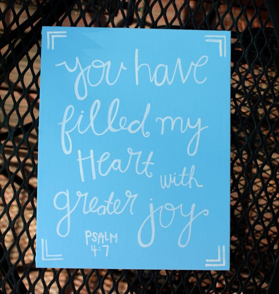 Salmo 4:7 que ha llenado mi corazón con mayor alegría tela   Etsy