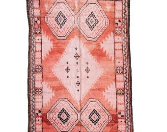 "Vintage Moroccan Berber Rug, ""The Caleb,"" Pink Rug, Red Rug, Faded Rug, Pastel Rug, Bohemian Decor, Boho Rug, Turkish Rug, Kilim, Peach Rug"