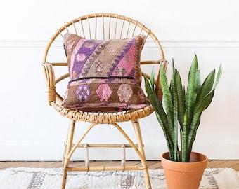Housse de coussin Vintage Kilim turc, coussin décoratif Boho, Boho oreiller, oreiller sud-ouest, Kilim turc, violet Kilim, Boho coussin