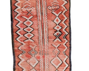 "Vintage Moroccan Berber Rug, ""The Elijah,"" Red Rug,Runner, Boucherouite Rug, Kids Rug, Faded Rug, Bohemian Decor, Boho Rug, Turkish Rug"